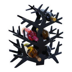"Benzara - Modern Tree Branch Wine Rack With 6 Horizontal Slots - The best thing for anyone who enjoys wine is to always have a bottle nearby. So add a modern rack of wine to your decor that fits perfectly with any style. This wine rack fits 6 bottles into its branches, perfect for the kitchen counter top or dining room. But it's small design makes it easy to keep in the den or master bedroom.; Made of wood; Size: 16""x6""x18"""
