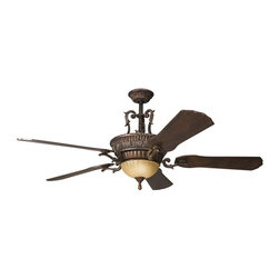 "DECORATIVE FANS - DECORATIVE FANS 300008BKZ Kimberley 60"" Traditional Ceiling Fan - With a Berkshire Bronze™ finish, umber-etched glass and beautiful decorative scrollwork, this fan is a wonderful addition to the Kichler Kimberley Collection. The 5, 60"" blades are pitched 14 degrees and are a rich Dark Cherry finish. The 188mm x 25mm Motor will provide the quiet power you need. With full range dimming and Intelligent Return, the integrated uplight uses 6 15-watt B-10 bulbs and the included downlight uses 3 40-watt B-10 bulbs. This fan comes complete with the Full Function CoolTouch™ Control System with independent up and down light control and 6"" and 12"" (3/4"" I.D.) downrods."