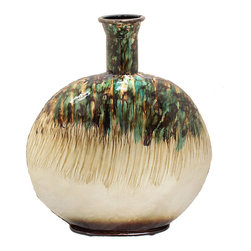 Casa Cortes - Casa Cortes Nacre Pearl Hand-Finished Artesian Round Lightweight Metal Vase - Aqua, green, gold, silver, purple, and brown blend perfectly on this textured round metal vase by Casa Cortes. This is a lightweight decorative vase that is perfect for displaying foliage or to add an artistic touch to any room in your home.