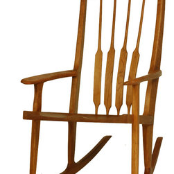 TY Fine Furniture - Sunrise Rocking Chair, Curly Cherry - Sunrise rocker is a dream—lovingly handcrafted to meet the needs of new parents and growing families. (Hint: It's a thoughtful gift from grandma and grandpa.)