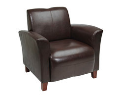 Office Star - OSP Furniture Lounge Seating SL2271EC9 Mocha Eco Leather Breeze Club Chair w/ Ch - Mocha Eco Leather  Breeze Club Chair with Cherry Finish Legs. Rated for 300 lbs. Shipped Semi K/D.
