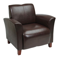 Office Star - OSP Furniture Lounge Seating SL2271EC9 Mocha Eco Leather Breeze Club Chair - Mocha eco leather breeze club chair with cherry finish legs. Rated for 300 lbs. shipped semi K/D.