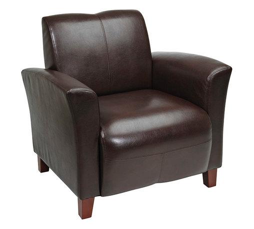 Office Star - OSP Furniture Lounge Seating SL2271EC9 Mocha Eco Leather Breeze Club Chair - Mocha eco leather breeze club chair with cherry finish legs. Rated for 300 lbs. shipped semi K/D.