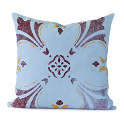 BY MERCATO - Blue Flower Throw Pillow - You will often see floral designs with blue, burgundy and ochre detailing on Italian antique tiles.  All of the colors come together on this blue decorative throw pillow to create a unique large bold flower composition.