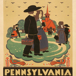Keep Calm Collection - Pennsylvania Vintage Travel Poster - This product is reproduced from a publication, advertisement, or vintage poster. To maintain consistency with the original image, this final product has not been retouched. This print is produced on a 270 gsm fine art paper stock.