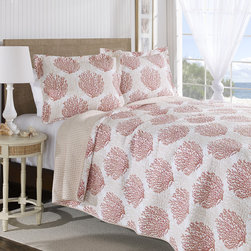 Laura Ashley - Laura Ashley Coral Coast Coral Reversible Cotton 3-piece Quilt Set - This Laura Ashley Coral Coast coral reversible cotton quilt set is a great way to update your bedroom decor effortlessly. The quilt can be used layered in with bedding as a coverlet or used alone in warmer weather.