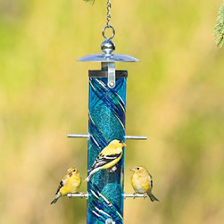 Thistle Feeder, Bird Feeder - This bird feeder is gorgeous. The hand blown blue glass attracts the perfect color compliment - yellow gold finches. If I had a tree in my back yard it would already be there.