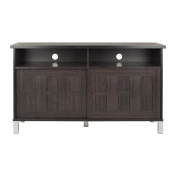 Safavieh - Gable 2 Door Tv Cabinet - That's entertainment. The Gable Two-Door TV Cabinet is a stylish solution for media storage. Its Craftsman-style dark brown wood grain finish is perfect for modern decor that welcomes warmth.