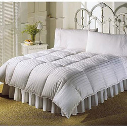 None - 5-star Hotel Luxury Stripe White Down Comforter - Sleep in cozy comfort with a new Vienna white down comforter. Oversized comforter is filled with white down to keep you supremely comfortable