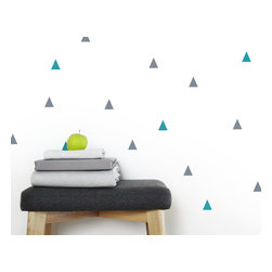 "OLLI+LIME - Triangle Wall Decals, Blue/Gray - Triangle design wall decals in high-quality self-adhesive Oracal 631 vinyl. Each pack includes 50 1"" diameter triangles. 25 blue / 25 gray."