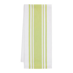 "KAF Home - Striped Kitchen Towel - Pear, Set of 4 - A essential in any kitchen, our herringbone weave center band towels are ready for drying pots and pans or mopping up spills. These 30"" x 20"" kitchen towels feature a center stripe and are available as a set of four."