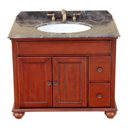 "Bosconi - 39"" Bosconi T-3743 Single Vanity - This Bosconi Classic vanity has great elements of design, as well as two drawers in addition to the larger cabinet accessible via two swing doors for all storage needs. This model is a great mix of functionality and beauty, as its Antique Red finish across its solid structure will look great in any bathroom, complementing it with Dark Emperador marble and Antique Brass hardware."