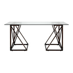 Selamat - Riva Clove Trestle Desk - The modern Riva impresses with an open-air geometric frame and sleek onset tabletop. This angular, clove brown trestle furnishing arranges in two positions for a unique desk or small table. Sustainably-grown rattan with leather bindings; Hand-stained finish; Tempered glass