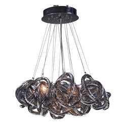 Viz Glass, Inc. - Infinity Chandelier - SKU: CH-2416-5MT - Infinity Chandelier. Metallic Glass. Chrome Finish Hdwe.  Bulbs (Included): 5 - Candelabra Bulb 40W. Max Height 65. UL listed. Hardwire; professional installation recommended