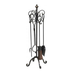 """Joshua Marshal - Bronze with Gold Accents 33"""" Scroll Hearth Stand And Tools - Bronze with Gold Accents 33"""" Scroll Hearth Stand And Tools"""