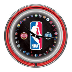 Trademark Global - NBA Logo 30 Team Chrome Double Ring Neon Cloc - High Grade Glass Cover. High Polished Chrome Finish Molded Resin Housing. Officially Licensed Full Color Logo on the Clock Dial. Double Ringed Neon (Outside Ring Coordinates with Printed Logo and Inside Ring Illuminates the Clock Face). Battery Operated Quartz Clock Mechanism. Requires 1 AA Battery for Clock Operation (Not Included). AC Power Adapter with 6 ft. Cord . Wall Hanging Mount. Dimensions: 3 x 14.5 x 14.5 inchesEvery game room, garage or man cave could use the addition of an officially licensed neon clock. So why not add one of the highest grade clocks on the market to your collection? This impressive clock has not just one but two neon rings. It has an accent colored neon ring on the exterior and a brilliant white neon ring on the interior of the clock to light up your favorite logo. Other highlights include chrome finished resin housing and a high grade glass clock face cover. The battery operated quartz clock mechanism will keep your new prize precise and ticking for a long time, while the neon runs off the included AC adapter. The neon is controlled by the pull chain and the back of the clock includes a wall hanging mount. The 3 inch depth of this clock combined with the radiant shimmer of the neon reflecting off the chrome housing is sure to make this clock pop off of any wall. Bring style and function to your game room,garage or collection with an officially licensed double ringed neon clock.