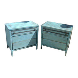 Used Blue Painted Shabby Chic Dressers - A Pair - These two gems are found treasures! The seller saw their potential and gave them new life with a rustic, robin's egg blue paint job. We can imagine them looking lovely in a bright white bedroom!