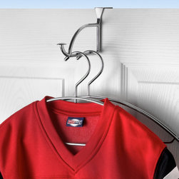 Hooks & Racks - Add storage to any room in your home with the Stratford Over the Door Hanger Holder. The horizontal bar holds multiple hangers, providing a functional and stylish way to hang and store your clothing, jackets, towels, robes and other accessories. The sturdy steel bracket fits doors up to 1-3/8'' thick and comes predrilled for optional permanent installation.