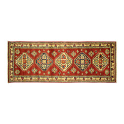 Manhattan Rugs - New Caucasian Super Kazak Hand Knotted Pure Wool 2'x6' Geometric Area Rug H5268 - Kazak (Kazakh, Kasak, Gazakh, Qazax). The most used spelling today is Qazax but rug people use Kazak so I generally do as well.The areas known as Kazakstan, Chechenya and Shirvan respectively are situated north of  Iran and Afghanistan and to the east of the Caspian sea and are all new Soviet republics.   These rugs are woven by settled Armenians as well as nomadic Kurds, Georgians, Azerbaijanis and Lurs.  Many of the people of Turkoman origin fled to Pakistan when the Russians invaded Afghanistan and most of the rugs are woven close to Peshawar on the Afghan-Pakistan border.There are many design influences and consequently a large variety of motifs of various medallions, diamonds, latch-hooked zig-zags and other geometric shapes.  However, it is the wonderful colours used with rich reds, blues, yellows and greens which make them stand out from other rugs.  The ability of the Caucasian weaver to use dramatic colours and patterns is unequalled in the rug weaving world.  Very hard-wearing rugs as well as being very collectable