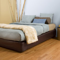 None - Queen-size Brown Platform Bed Kit - Upgrade your bedroom decor with this queen-size brown platform bed. Constructed of foam,faux leather,and wood,this item adds a contemporary touch that is sure to please. The box spring cover can expand to accommodate thicker box-springs.