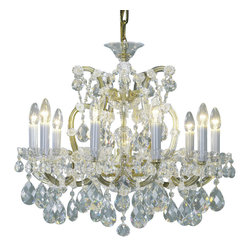 """Inviting Home - Maria Theresa Crystal Chandeliers (Premium Crystal) - clear and gold Maria Theresa style crystal chandelier; 26"""" x 25""""H (11 lights); assembly required; 11 light premium clear crystal chandelier with hand-molded arms and cut crystal trimmings; all metal parts have gold finish; genuine Czech crystal; * ready to ship in 2 to 3 weeks; * assembly required; This chandelier is a part of Maria Theresa Collection. At their start the chandeliers bearing the name of Maria Theresa were made on the occasion of the Empress's coronation as queen of Bohemia in 1743. This fact is hidden in the shape of these lighting fixtures reminiscent of the royal crown. Their characteristic feature is the arms' typical flat surface clad with glass bars. The bars are fixed to the arms by glass rosettes and beads with dangling cut crystal chandelier trimmings. These ravishing fixtures were inspired by a chandelier made for Maria Theresa in Bohemia in the mid 18th century. However not only the empress became fond of it; so did many others who fancied the style and the majestic manners after her. Typical elements are metal arms overlaid with glass bars and decorated with crystal rosettes. Originally the trimming was made of typical flat drops called """"pendles"""". Today trimmings of various shapes are used. Premium crystal. A sumptuous type of chandelier trimmings. Fire of the rainbow spectrum brilliance limpidity glitter and perfect scattering and dispersion of light - these are their main features resulting from precise cutting using electronically controlled machines but also from high quality crystal containing more then 30% of lead. Traditional mastery and the revealed mystery of the glass substance blend together with modern technologies and first-rate design in each of these unique pieces. Chandeliers dressed with these trimmings of exceptional beauty will lend an air of grandeur to the ambiance even of the most prestigious interiors. Every component passes thorough strict interna"""