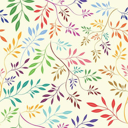 Chic Shelf Paper Rainbow Vines Shelf Paper & Drawer Liner - Blue, green, mauve, purple, gold and brown vines on a light cream background.