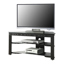Convenience Concepts - Convenience Concepts Classic Glass Wood and BLACK Glass TV Stand X-LB10-VT - The modern design of this 3 Tier Wood and Glass TV/ Entertainment center is ideal for any contemporary home.