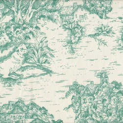 Close to Custom Linens - Bradford Valance Toile and Ticking Stripe Pool Blue-Green - A charming traditional toile print in pool blue-green on a cream background.