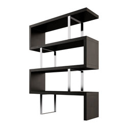 Modloft - Pearl Bookcase, Wenge - The Pearl bookcase adds a modern edge to any room. Four fixed hardwood shelves with ladder-style steel chrome supports give the Pearl a light appearance. Clean, modern lines and open shelving allow this stunning piece to act as a natural partition between adjacent rooms in the home. Measures 51L x 14D x 66H (distance between shelves 14.5H).  Light assembly required. Engineered wood. Available in wenge or walnut wood finishes. Also available in white lacquer finish. Photo shown as pair. Sold separately. Imported.