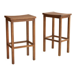Great Deal Furniture - Lantana Brown Mahogany Stools (Set of 2), Bar Height - The Lantana Wood Stools are a perfect addition to your kitchen or dining room. These stools made from acacia wood add a natural element to the room and match most existing decor. Perfect set for your kitchen, bar area or dining space.