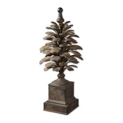 Old World Metal Pine Cone Leaf Finial - *Hand forged and hand hammered metal with an antiqued, aged ivory finish with burnishing.