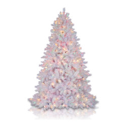 "Balsam Hill - 7.5' Balsam Hill® Classic White Pre-Lit Artificial Christmas Tree - Our Classic White artificial Christmas tree is another one of our most popular & lifelike artificial trees that creates the perfect white Christmas for families everywhere. The 7.5 foot version of this pre-lit easy setup tree will sparkle and dazzle with its Multi-Colored jeweled lights. Also included with this tree is a scratch-proof tree stand, soft cotton gloves for shaping the tree, storage bag, extra bulbs and fuses, and an on/off foot pedal for lights. As the best artificial Christmas tree manufacturer that is the #1 choice for set designers for TV shows such as ""Ellen"" and ""The Today Show"", in addition to being a recipient of the Good Housekeeping Seal of Approval, our trees are backed by a 5-year foliage warranty and a 3-year light warranty. Free shipping when you buy today!"