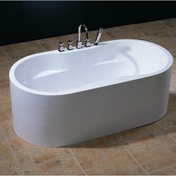 "Aquatica - Aquatica PureScape 309 Freestanding Acrylic Bathtub - White Multiple Sizes - Treat yourself and soak in peaceful tranquility with Aquaticas stylish and ergonomic PureScape 309 freestanding bathtub. Aquatica challenges everything we thought we knew about a bathtub with the world-class modern design and ergonomic features that are incorporated into all of their luxury tubs. Aquatica Purescape bathtubs are as pleasing to the eye as they are to soak in. Their striking visual appeal adds a mesmerizing modern elegance to any bathroom. From the finest selection of raw materials all the way to the high-class design, Aquatica has spared no expense to innovate and create some of the highest quality bathtubs in the world.Aquatica's bathtubs offer modern glamour at affordable prices. The Aquatica line is diverse enough to encompass both bathtubs with classical elegance that match the style of your bath and bathtub models that are distinctive and unique as the centerpiece of your remodel.FeaturesStriking upscale modern designFreestanding constructionSolid, one-piece construction for safety and durabilityExtra deep, full-body soakErgonomic design forms to the body's shape for ultimate comfortQuick and easy installationConstructed of 8mm thick 100% heavy gauge sanitary grade precision acrylicPremium acrylic and tub thickness provides for excellent heat retentionHigh gloss white surfaceColor is consistent throughout its thickness - not painted onColor will not fade or lose its brilliance overtimePreinstalled cable drive pop up and waste-overflow fitting includedDesigned for one or two person bathingNon-porous surface for easy cleaning and sanitizingBuilt-in metal base frame and adjustable height metal legsChrome plated drain5 Year Limited WarrantyCode compliant with American standard 1.5"" waste outletsSpecifications Available in two sizes to fit your spacePureScape 309A Dimensions: 59 in. L X 32 in. W X 23.75 in. HPureScape 309B Dimensions: 63 in. L X 33 in. W X 23.75 in. HShape: Oval Spec Sheet for 59"" Bathtub Spec Sheet for 63"" Bathtub Note: Model 309A usually ships in 1-2 days. Model 309B ususally ships in 4-6 weeks. Please allow an additional 2-3 business days for order transmittal and verification."