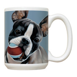 215-Boston Terrier Mug - 15 oz. Ceramic Mug. Dishwasher and microwave safe It has a large handle that's easy to hold.  Makes a great gift!