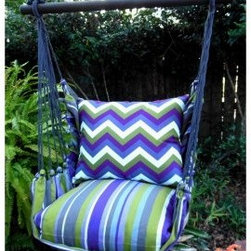 Magnolia Casual Regal Chevron Hammock Chair & Pillow Set - You'll know what backyard bliss really is when you settle into the Magnolia Casual Regal Chevron Hammock Chair & Pillow Set. Made of weather-, fade-, and-mildew-resistant 100% polyester Sundure fabric, this hammock chair offers the soft, natural feel of cotton, so it's way more comfy than quilted hammocks. Plus, the plush, 100% polyester-insert seat pillow and back pillow envelop you in such luxurious comfort that you'll be found lounging in it most of your waking hours. With a striped pattern in shades of blue, sage, and white, the seat pillow matches the rest of the chair, while a bold chevron-pattern on the back pillow adds to the set's casual, summery feel. A matching tote bag makes it super easy to carry this hammock with you when you go on vacations. The wood spreader bar is attached to 100% polyester rope for extra sturdiness, while zippered, machine-washable pillow covers make cleaning this hammock chair a breeze.About Magnolia CasualMagnolia Casual sweeps you off your feet and into the relaxation zone by offering a wide variety of hammocks and swings, along with complementary comfortable pillows manufactured from fade- and mildew-resistant polyester that holds up well to outdoor use.Based in Pascagoula, Miss., Magnolia Casual's Sundure Fabrics are colorful, and the hammocks and swings are built for durability and years of enjoyment. The company also offers shower and hamper curtains that will brighten your home.
