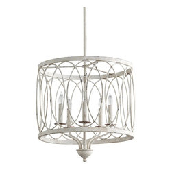 """Cyan Design - Rustic - Lodge Sausalito 18"""" Wide Rustic White Pendant Light - A beautiful pendant light with looping wrought iron design in a charming rustic white finish. Hang this winning pendant in your dining area for a casual relaxed feel that overflows with charm. From the Sausalito Collection by Cyan Design. Wrought iron construction. Rustic white finish. Five maximum 60 watt or equivalent candelabra bulbs (not included). Includes 10 feet cord and 10 feet of lead wire. Includes three 16"""" two 12"""" and two 8"""" downrods. 18"""" wide. 18"""" high. Canopy is 5 1/4"""" wide 1 1/4"""" high.  Wrought iron construction.  Rustic white finish.  Five maximum 60 watt or equivalent candelabra bulbs (not included).  Includes 10 feet cord and 10 feet of lead wire.  Includes three 16"""" two 12"""" and two 8"""" downrods.  18"""" wide.  18"""" high.  Canopy is 5 1/4"""" wide 1 1/4"""" high."""