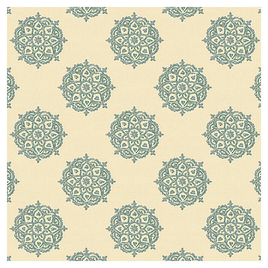 Blue Medallion Block Print Fabric - Eclectic medallion block print in pale blue & taupe on lightweight ivory cotton. Hand printed in India.Recover your chair. Upholster a wall. Create a framed piece of art. Sew your own home accent. Whatever your decorating project, Loom's gorgeous, designer fabrics by the yard are up to the challenge!