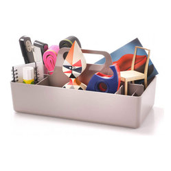 Vitra - Toolbox, Warm Grey - What are the tools of your trade? Whether you need sticky notes and pens, hot glue and sequins, nails and drill bits or muddlers and swizzle sticks at your fingertips, this organizer helps you hold and haul everything in organized style.