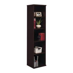 Bush Furniture - Bush Series C Open Single Bookcase - WC48512 - Shop for Bookcases from Hayneedle.com! Furnish your home or office in exquisite style with the Bush Series C Single Bookcase. This modern wall bookshelf has a clean contemporary design and provides five shelves for storage. Two of the shelves are fixed and three are adjustable so you can configure a bookcase that suits your needs. This unit is crafted of engineered MDF and each shelf has a 50-lb. capacity to handle everything from your thickest books to hefty collectibles.This traditional bookcase has a durable scratch-resistant finish in your choice of color and it includes a 10-year manufacturer's warranty. This product meets Business and Institutional Furniture Manufacturer's Association (BIFMA) standards for safety and performance. Assembly required. Dimensions: 15.35D x 17.87W x 72.83H in.About Bush FurnitureBush Furniture is the eighth largest furniture company in the United States. Bush manufactures high-quality products which are designed to be easily assembled and provide great value for the price. Bush furniture is made from a combination of particleboard fiberboard and solid wood components. The use of real wood components will be noted in the product description if applicable.Bush Industries has over 4 000 000 total square feet of manufacturing warehousing and distribution space. This allows for a very wide selection of high-quality furniture with the ability to ship quickly. All standard residential Bush products carry a generous 6-year warranty. All Bush business furniture including the A series C series and Quantum series is backed by a 10-year warranty from Bush one of the best in the industry.Please note this product does not ship to Pennsylvania.