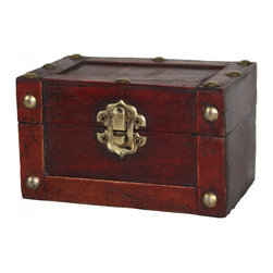 Small Mini Treasure Chest - Decorative trunk that is great for decoration  Decorative wood mini trunk Old Fashioned hardware adds to antique look This decorative treasure box is gonna fill any empty place in your home or heart. � � �