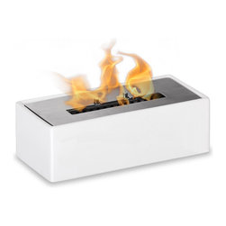 "Ignis Products - Mia White Tabletop Ventless Ethanol Fireplace - Treat yourself to the warmth and beauty of a fireplace that doesn't take up a lot of room with this Mia White table top Ceramic Ventless Ethanol Fireplace. You'll love its sleek white metallic housing and the 1.5-liter burner insert that provides an open flame for get-togethers with family and friends. This fireplace is a freestanding unit that burns clean ethanol fuel, so you can enjoy warm, clean heat wherever you want it, even in small rooms or apartments. This unit is perfect for renters who don't have the option of installing their own fireplaces, too. Move it from spot to spot; it's lightweight and portable. Dimensions: 12"" x 5.5"" x 4"". Features: Tabletop, Freestanding - can be placed anywhere in your home (indoors & outdoors). Ventless - no chimney, no gas or electric lines required. Easy or no maintenance required. Capacity: 1.5 Liter. Approximate burn time - 5 hours per refill. Approximate BTU output - 6000."