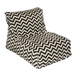 HRH Designs - Indoor/Outdoor Beanbag Lounger, Black Chevron - Indoor/outdoor beanbag lounger. Removable washable cover. Water resistant. Chair can be refilled when needed.