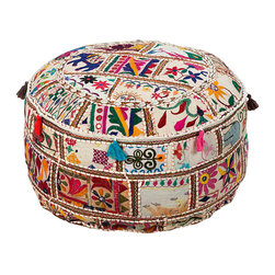 Bohemian Appliqued Pouf - Tassels, embroidery, appliqued, and even tiny, flashing sequins detail the colorful patchwork of the Bohemian Appliqued Pouf, a cylindrical accent furnishing that illustrates the flair of the far away. Perfect for adding sizzle and interest to even the most staid collection of furnishings, this exquisite piece stays matchable and fresh-looking with a bright ivory background.