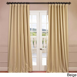 EFF - Extra Wide Thermal Blackout 108-inch Curtain Panel - You will instantly fall in love with these double-wide blackout curtains. Each panel measures 100 inches wide; the fabric is super soft with a refined texture made with a special polyester yarn.