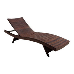 Wicker Brown Outdoor Adjustable Lounge