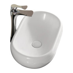 Caracalla - Oval White Ceramic Vessel Bathroom Sink, No Hole - Sleek oval bathroom sink. Vessel sink with no overflow and no hole options. Made of porcelain with a white glaze finish. Designed and made by Caracalla in Italy.