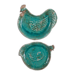 Uttermost - Galiana Ceramic Trays, Set of 2 - These colorful, distressed, crackled teal blue ceramic trays are not just for serving your friends appetizers. Broaden their appeal and hang them in your kitchen for an immediate, European, country style accent. The vibrant teal brings a joyful edge to a wall. Pair with matching towels and you have a kitchen makeover.