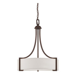 Savoy House - Terrell 3 Light Pendant - Terrell is a striking group from Savoy House with updated styling and bold geometric lines. The English Bronze finish is accentuated by the crisp White Etched Glass creating fresh elegance for today's sophisticated decor.