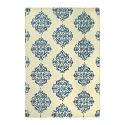 Safavieh - Rug in Blue and Ivory (5 ft. 9 in. x 3 ft. 9 in.) - Size: 5 ft. 9 in. x 3 ft. 9 in. Country style. Hand-hooked to a durable cotton backing. Made from 100% pure virgin wool. Pile height: 0. 25 in. American Country and turn-of-the-century European designs. This collection is handmade in China exclusively for Safavieh.