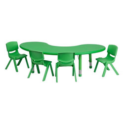"Flash Furniture - 35""W x 65""L Green Plastic Activity Table Set with 4 School Stack Chairs - This table set is excellent for early childhood development. Primary colors make learning and play time exciting when several colors are arranged in the classroom. The durable table features a plastic top with steel welding underneath along with height adjustable legs. The chair has been properly designed to fit young children to develop proper sitting habits that will last a lifetime."